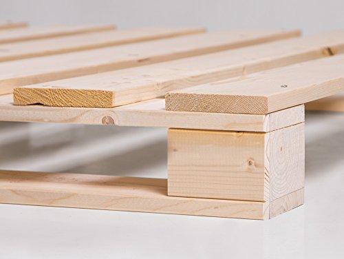 PALETTI Massivholzbett Holzbett Palettenbett Bett aus Paletten mit 11 Leisten, Palettenmöbel hergestellt in Deutschland, 160 x 200 cm, Fichte natur - 4