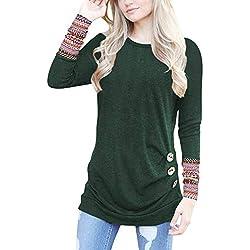 3319e160 Camisas Mujer Tallas Grande,EUZeo Primavera Otoño Blusa de Las Mujeres,Básica  Camiseta de