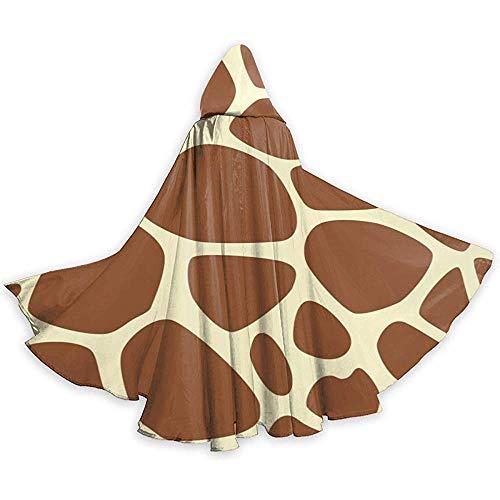 Giraffe Print Pattern Adult Tunika Hooded Knight Halloween Mantel Robe Kostüm Weihnachten, 59Inch (Womens Giraffe Kostüm)