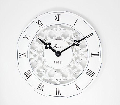 Schabby Vintage-Schrank, Chic, im französischen Stil, Wanduhr Antik Creme-perfekt für Küchen im Landhausstil Uhr