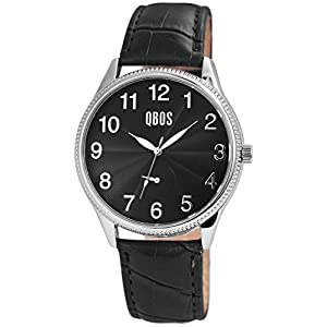 QBOS Herrenuhr Schwarz Silber Analog Metall Leder Chrono-Look Quarz Armbanduhr