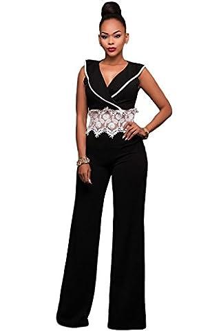 Neuf pour femme Noir et blanc au crochet Dentelle Tour de taille Large jambe Combinaison Club Wear Soirée Taille S UK 8–10EU 36–38