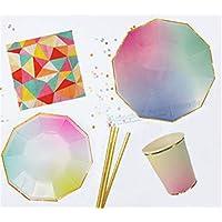 48 Juegos De Mesa De Fiesta De Arco Iris En Colores Pastel Kits De Ajuste Con