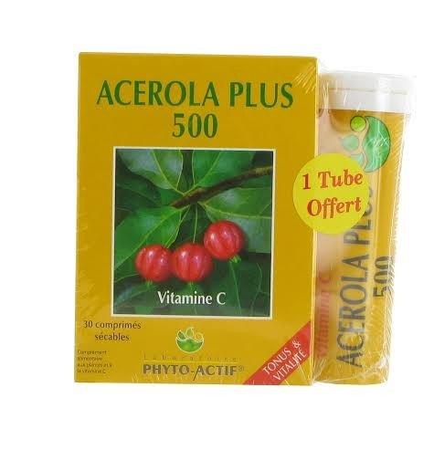 Acerola plus 500 - 30 comprimés + 1 tube offert