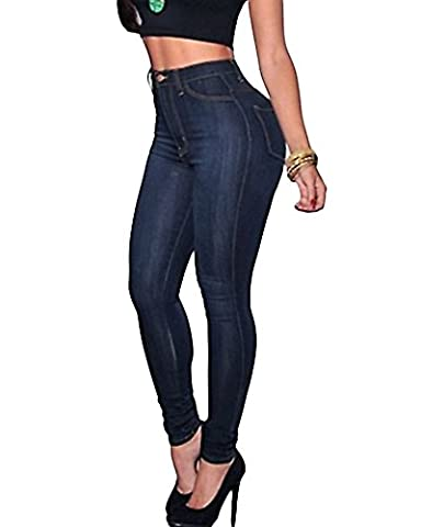 Femmes Skinny Denim Jeans Taille Haute Pantalon Collants Stretch Slim Jeans Pantalons Crayon Comme image S
