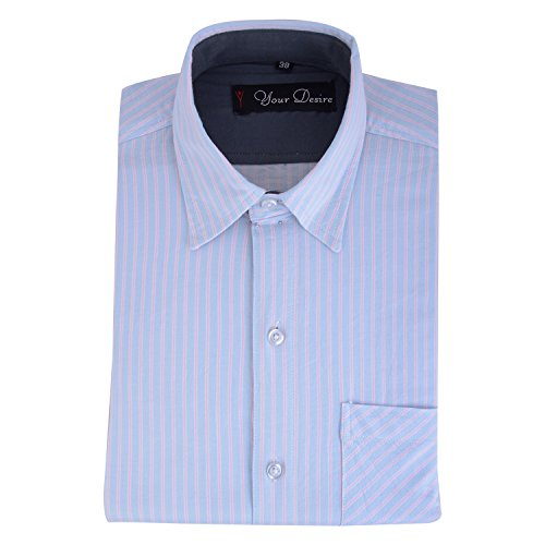 Your Desire Shirts Men Cotton Sky Blue and Pink Formal Shirt (Size 40)