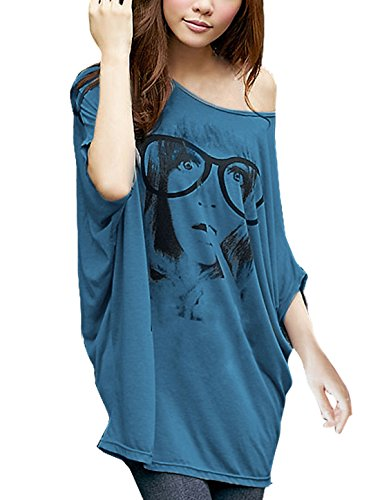 allegra-k-women-batwing-sleeve-portrait-print-front-loose-tunic-top-m-navy-blue