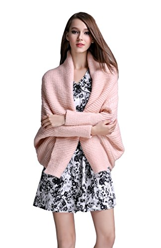 Angcoco Women's Long Sleeves Modern Open Front Soft Knit Cardigan Sweater (Pullover Cardigan Open Cable)