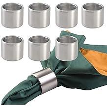mDesign Juego de 8 anillos servilleteros – Prácticos aros para servilletas de acero inoxidable cepillado –