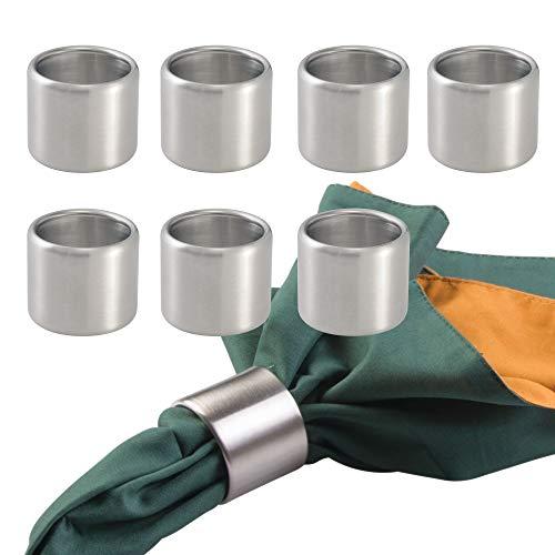MetroDecor mDesign 8er-Set Serviettenringe – praktische Serviettenhalter aus gebürstetem Edelstahl – stilvolle Stoffserviettenringe für Festliche Anlässe – mattsilber