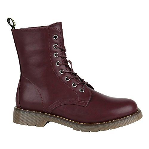 Damen Schuhe Coole Worker Boots Kinder Outdoor Stiefeletten Profil Sohle 144393 Dunkelrot Cabanas 38 Flandell