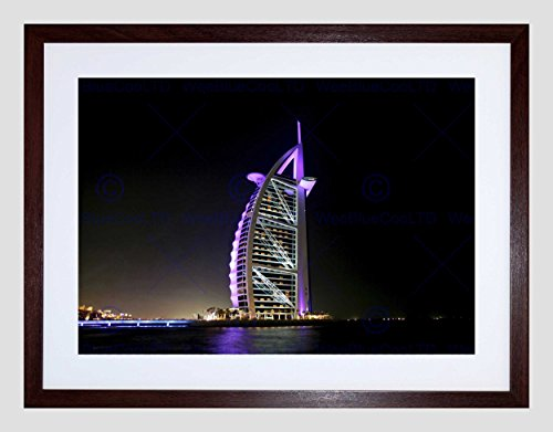 DUBAI BUILDING BURJ AL ARAB BLACK FRAME FRAMED ART PRINT PICTURE MOUNT B12X9361