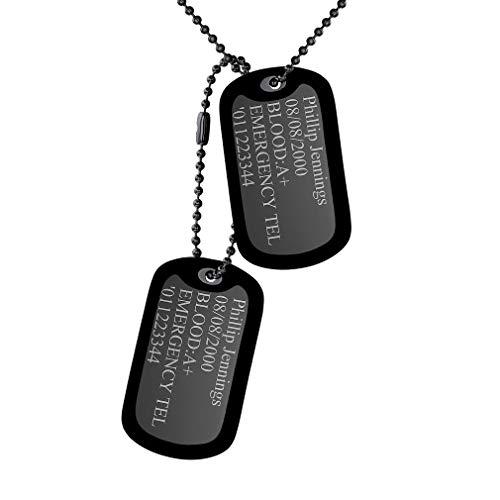 Custom4U Edelstahl Militärischen Erkennungsmarken mit Kugelkette und Schalldämpfern,2 Stück Gleich Geprägten Dog Tag Kette Edelstahl Anhänger Erkennungsmarken Herren Halskette