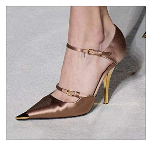 happy&live 2019 Top Sexy Lady Satin Pointed Toe Shoe Runway Show Party Women Buckle Strap Sandal Shoe Iron Heel Metal Toe 35