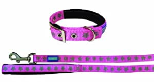 """Dog & Co Reflective Stars Pink Collar and Lead 3/4"""" x 10-14""""/1.9 x 25-35cm"""