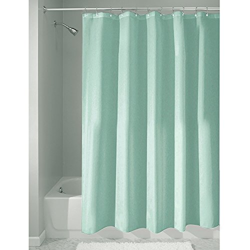InterDesign Mildew-Free Water-Repellent Fabric Shower Curtain, 183 x 183 cm - Blue
