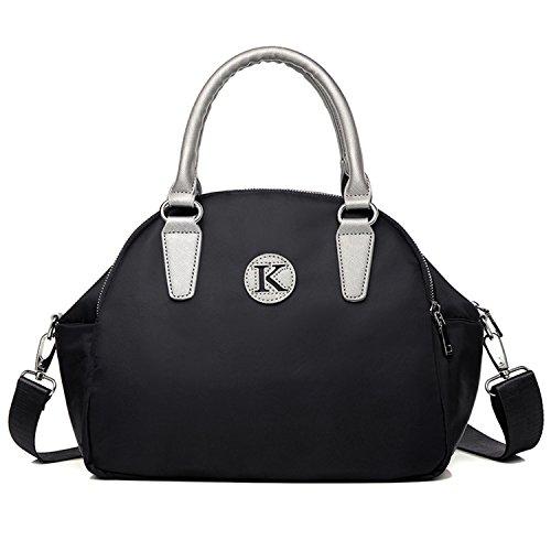 Young & Ming - Donna Female Nylon Handbag Borse a spalla Tote Shouder Bag con tracolla materiale impermeabile nero