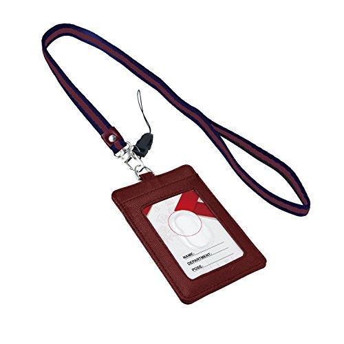 Badge Holder, Vertical Genuine Leder ID Kartenhalter mit Umhängeband von aurya rot