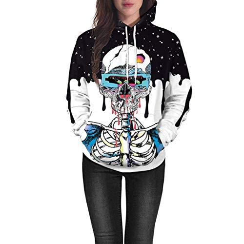 Qiusa Frauen-Tops Clearance Lovers Scary Halloween Kürbis Grimasse Schädel Geister 3D Print Party Hoodie Top Sweatshirt (Farbe : 2-Multicolor, Größe : CN LUK 16)