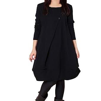 KOLY Da donna Oversized Sweatshirt T-Shirt Vestito largo a maniche lunghe erogenous a tunica da Jumper maglietta manica lunga maglione Casual Autunno Invernali Camicia Vestito Abito (Black, M)