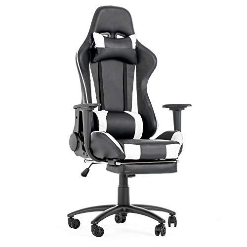 LAGRIMA Gaming Stuhl Bürostuhl Ergonomisches Design mit Hoher Rückenlehne, einziehbare Fußstütze, Verstellbare Kopf-&Lendenkissen, PC Stuhl im Rennstil für Gamer und Büropersonal Schwarz/Weiß