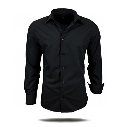 Herren Hemd Hemden Business Hochzeit Freizeit Slim Fit Bügelleicht S M L XL XXL Schwarz