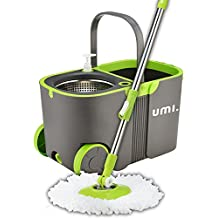 Umi.Essentials Stainless Steel Self-Wringing Microfibre Spin Mop and Bucket Floor Cleaning System