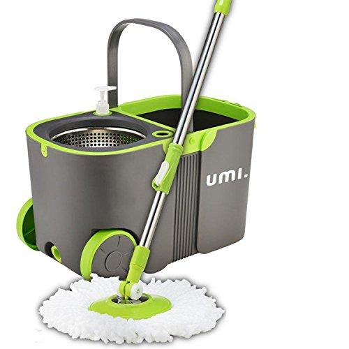 Foto de Eono Essentials - Juego de cubo y fregona, con escurridor automático de acero y mocho de microfibra, sistema de limpieza para el suelo