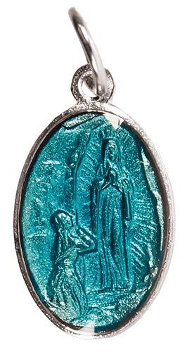 Cross Colgante con Medalla de la Virgen de Lourdes chapada en Plata con Cadena de 46 cm, 2 cm