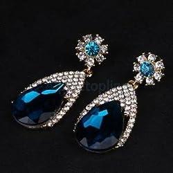 Alcoa Prime Sparkling Blue Zirconia Diamond Brides Wedding Big Teardrop Earrings Jewelry