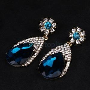 Alcoa Prime Sparkling Blue Zirconia Diamond Brides Wedding Big Teardrop Earrings Jewelry