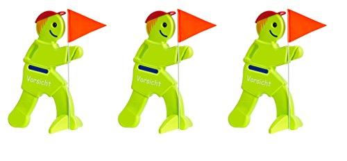 Preisvergleich Produktbild 3 Stück Benni Brems Warnschild, Achtung, Warnung, Kinder, Warnmännchen, Laumännchen