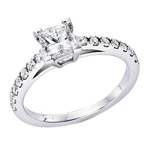 3/4 ct. Princess Cut Diamond Solitaire Engagement Ring in 18k White Gold