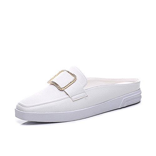 ZPPZZP Ms sandali rilassatevi in coreano-stile estate piatta Baotou Capo bianco 37EU 36EU