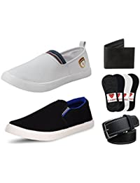 CAIRÖ Men's Combo Pack Of 2 Loafers, 4 Pair Premium Cotton Loafers Socks, Wallet & Belt