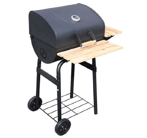 Outsunny New Trolley Charcoal BBQ Barbecue Grill Patio Outdoor Garden Heating Heat Smoker - Black