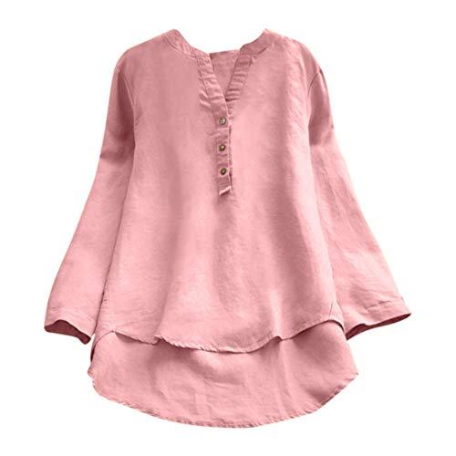 Damen Herbst Langarmshirt Tunika Freizeit Oberteile,Yanhoo Frauen Retro Lange Ärmel lässige Lockere Taste Tops Bluse Mini-Shirt Bluse Tops