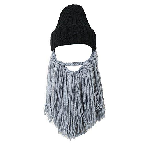 Lantra Besa Damen Herren Bartmütze Lustige Wolle Mütze mit Abnehmbarem Bart Maske für Karneval Halloween Cosplay Party CC0001 - Hellgrauer Bart