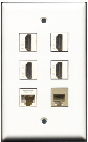 RiteAV-4-Port HDMI-1-CAT6Netzwerkkabel (RJ11, RJ12, beige 1weiß Wall Plate 4 Port, Single Gang Keystone