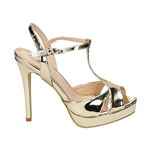Leder Slingback Heels Schuhe (King Of Shoes Damen Riemchen Abend Sandaletten High Heels Pumps Slingbacks Lack Peep Toes Party Schuhe Bequem 38 (40, Gold))