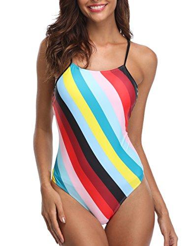 CharmLeaks Damen Streifen Einteiler Badeanzug Gestreift Schalen Slim Schwimmanzug Figurformende Bademode Rot L