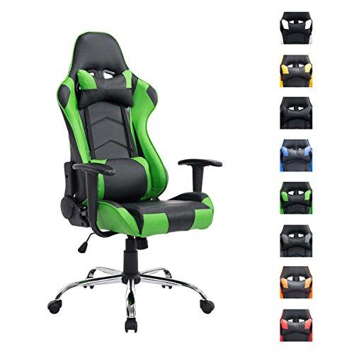 CLP Sedia gaming XXL, sedia da ufficio MIRACLE, capacità di portata fino a 150 kg, altezza regolabile 48 - 58 cm, con braccioli nero_verde