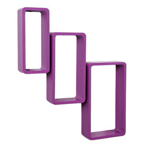 Set di 3 mensole rettangolari da parete stile retró in colore viola