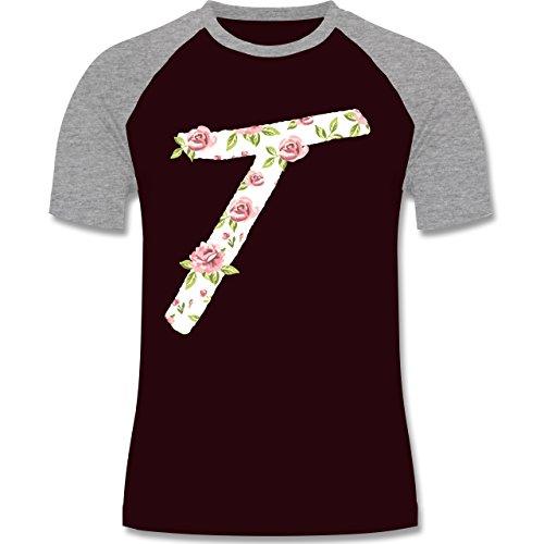 Anfangsbuchstaben - T Rosen - zweifarbiges Baseballshirt für Männer Burgundrot/Grau meliert