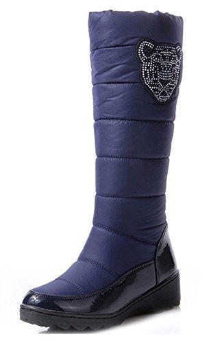Blu Stivali Aisun Stile Tacco Cuneo Rhinestone Calde Donne wgSxqR0z
