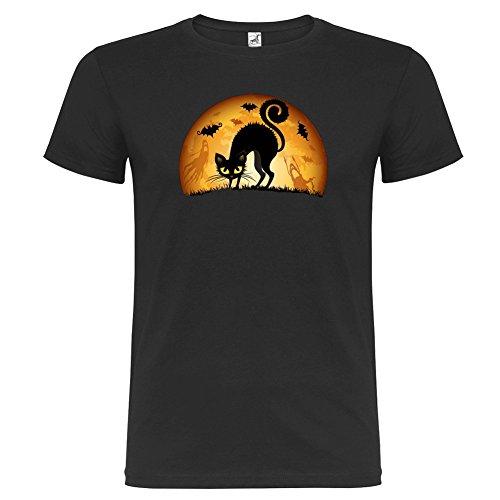 T-shirt manica corta Unisex Gatto Nero Halloween Black Cat By Bikerella NERO/COLOR