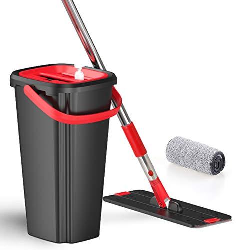 Kxlhs mocio & secchio,rotazione asciutto e bagnato doppio uso,assorbimento d'acqua rimozione della polvere decontaminazione,per pavimenti in legno,laminati,legno,piastrelle ecc