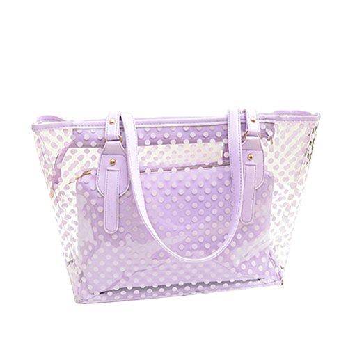 Tinksky Handtasche Damen Tote Tasche Wasserdicht mit Reißverschluss Handbag (Lila) (Lila Handtasche Tasche)