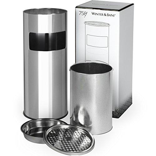 Winter & Bani Standaschenbecher Mülleimer | Edelstahl | Rostfrei | 60 Cm X 24 Cm | Silber Poliert