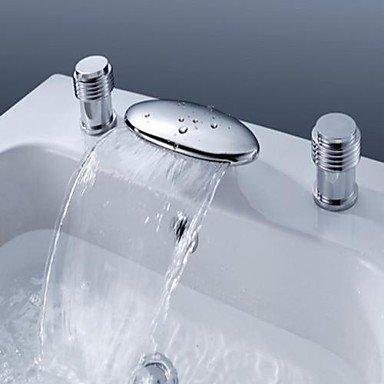 SUNNY KEY-Waschbecken Wasserhahn @ Hat zwei zeitgenössische Keramik Ventil breiten Wasserfall Griffe für Chrom Waschbecken Wasserhahn Dreiloch-